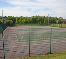 "<div class=""venueHireContainer""> <h3>Tennis Courts (MUGA)</h3> <ul> <li>3 tennis courts</li> <li>3 netball courts</li> <li>MUGA surface suitable for outdoor training</li> <li>Floodlit</li> </ul> </div>"